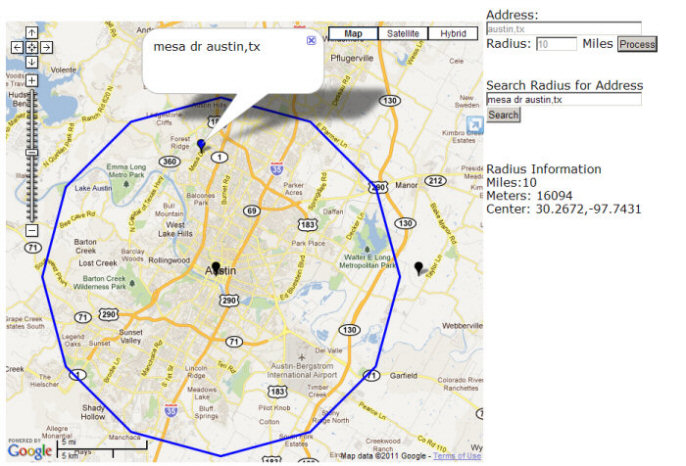Google Maps API Radius and Search